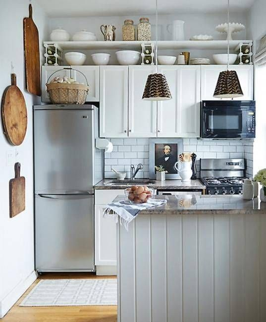 Tiny kitchen makeover remodeling ideas and inspiration for small kitchens - see more here: https://outintherealworld.com/diy-home-kitchens-tiny-kitchen-decor-remodeling-ideas-love/