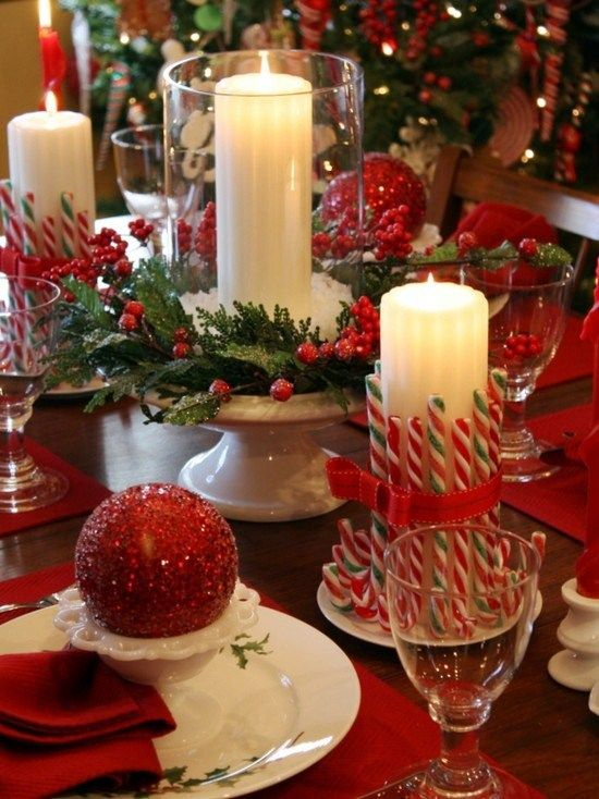 DIY Christmas decorating ideas.  Cute idea for candles on the table.  It