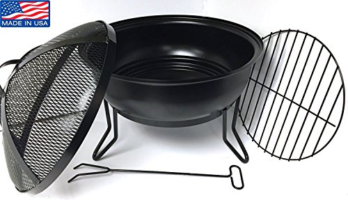 Made in USA - Heavy Gauge Steel Fire Bowl with Fire Screen, Grate + Fire Poker - Willard & May Outdoor Living