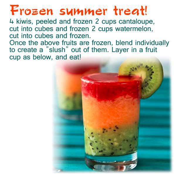 Frozen fruit smoothie recipe with kimi, cantaloupe and watermelon - DELICIOUS!