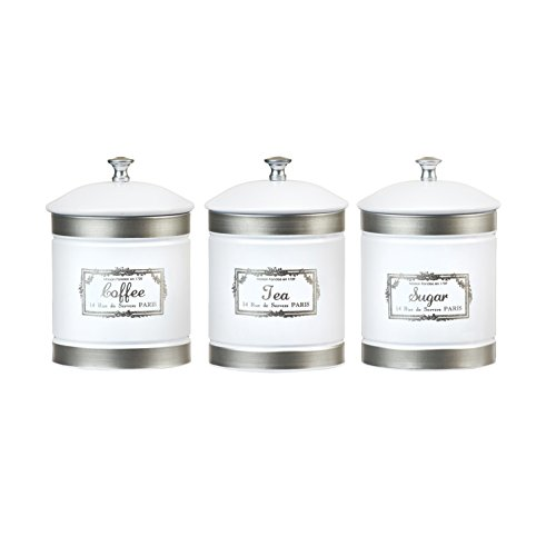 Amici Home, A5GS037AS3R, County Farmhouse Collection Metal Storage Canisters, Rubber Gasket, Assorted Set of 3, 36 Ounces