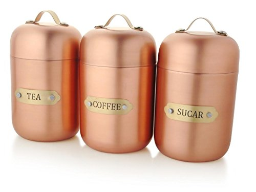 Francois et Mimi Stainless Steel Sugar, Tea, Coffee Canister Set with Lids, Bronze