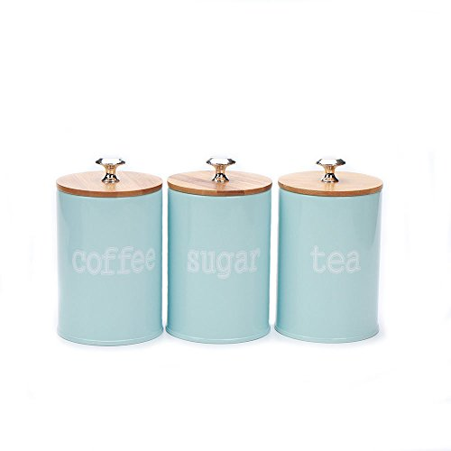 Hot Sale X022S Set of 3 Metal Food Storage Tin Canister/Jar/Container with Bamboo Lid (blue)