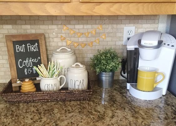 Small kitchen coffee bar - DIY coffee station on kitchen counter