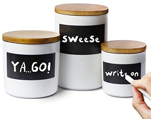 Sweese 3501 Porcelain Canisters with Airtight Lids - Set of 3 - Reusable Chalkboard with Bonus Chalks and Erasers