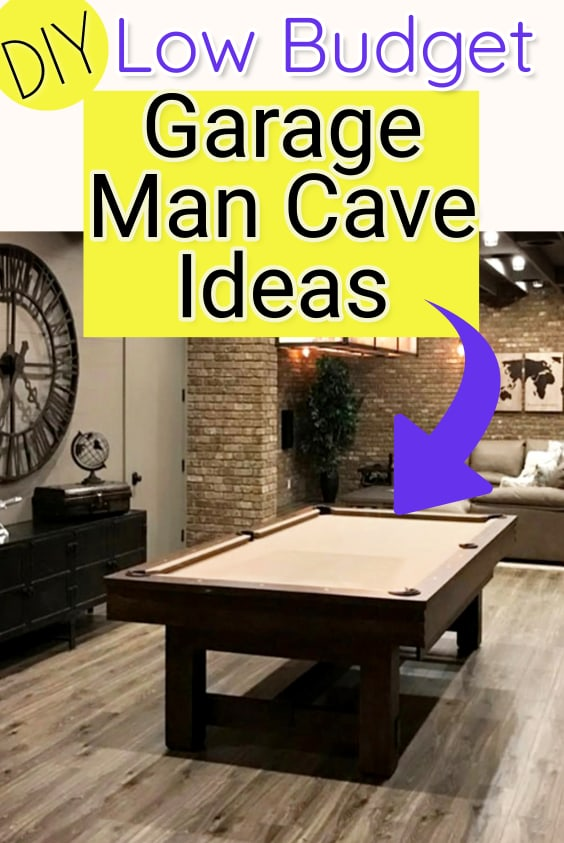 DIY low-budget-garage man cave ideas - learn how to turn a garage into a man cave for cheap.  These low budget garage man cave designs and cheap man cave stuff till help you create the DIY garage man cave of your dreams