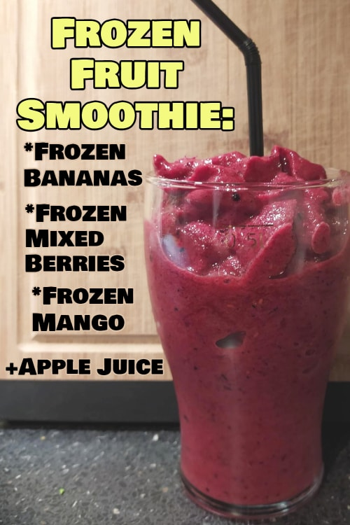 Frozen Smoothie Packs - Easy Fruit Smoothie Recipes with Frozen Fruit - frozen fruit smoothie with frozen bananas, berries, mango and apple juice