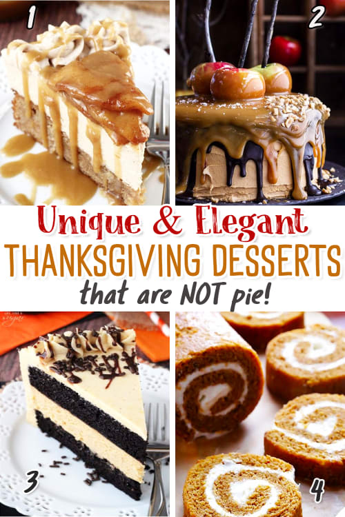 Thanksgiving Desserts for a Crowd that are NOT Pie!  These showstopper Thanksgiving desserts are all unique and  creative dessert ideas for Thanksgiving dinner or potluck.  Try these easy elegant make ahead desserts - they are my favorite easy 5 star desserts for a crowd that are insanely good and travel well.  These are the best Thanksgiving desserts to bring to a party that make a BIG impression!  See all these Thanksgiving dessert recipes with pictures and video.
