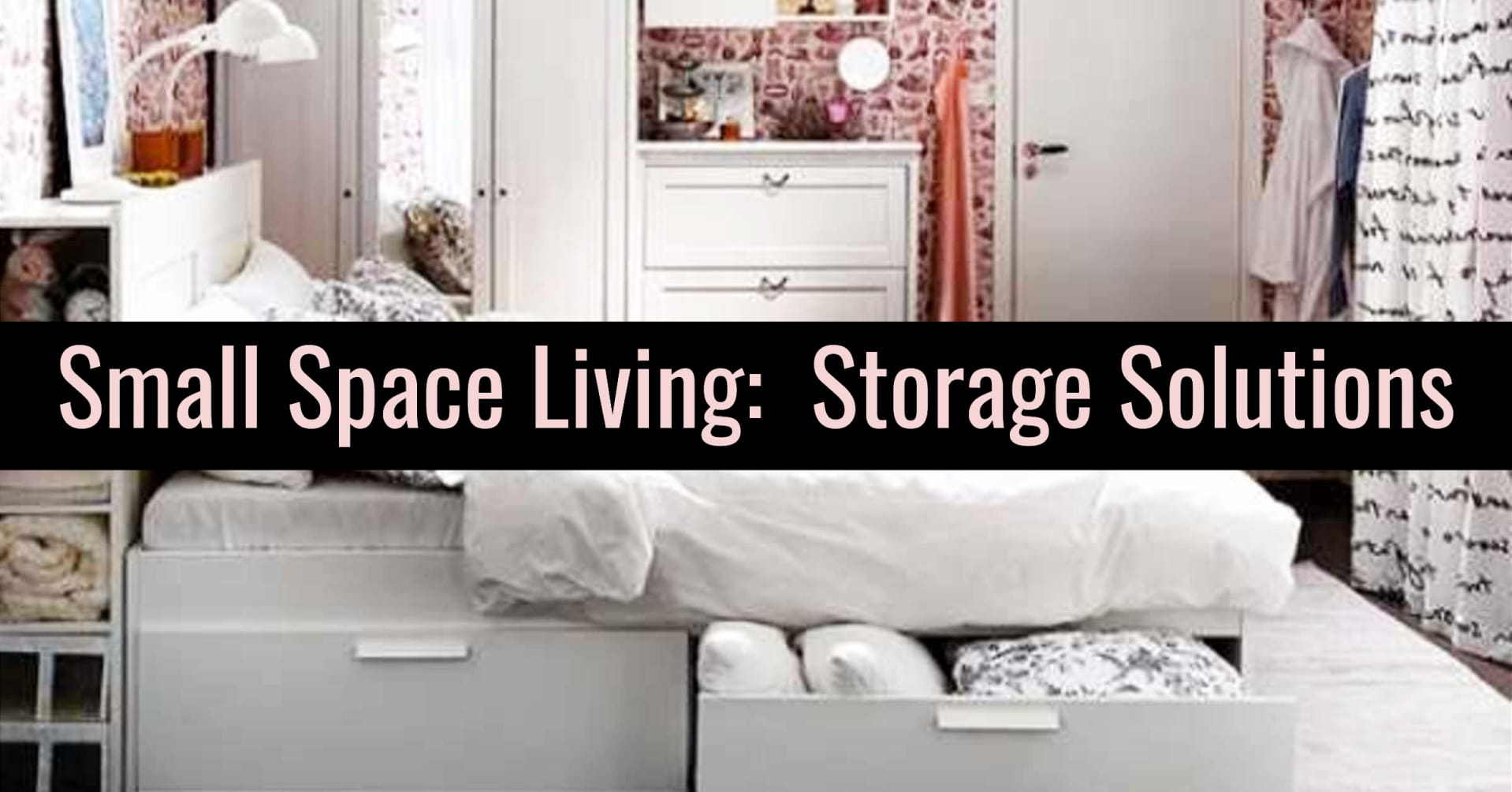 Small Space Living Storage Solutions!  Storage and organization hacks for getting organized at home on a budget - Get organized at home with these creative storage solutions for small spaces in your bedroom, tiny apartment, little flat, small kitchen, living room, bathroom and more for making the most of small spaces for serious clutter control.  Go from cluttered mess to organized success when uncluttering your home!