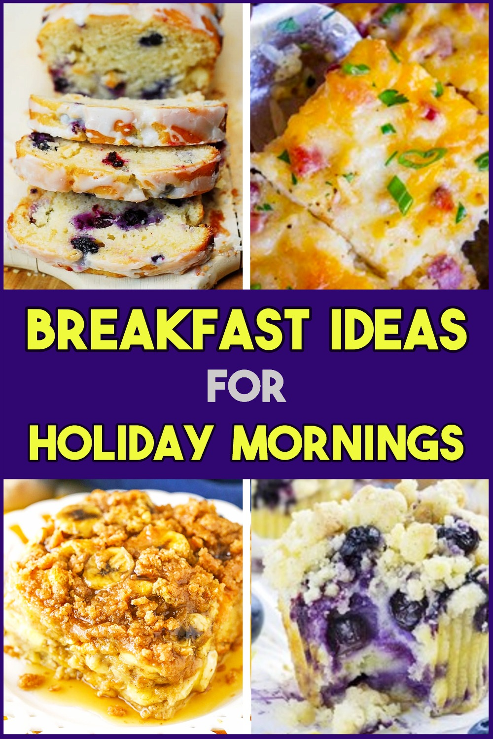 Holiday Morning Breakfast Ideas - Easy Breakfast Recipes For Thanksgiving, Xmas, Easter and All Holidays. Simple breakfast recipes for large groups/large family with a full house for breakfast on Christmas morning, Thanksgiving, Easter breakfast/brunch, Mothers Day, Moms birthday, Fathers Day etc - easy breakfast ideas for non breakfast eaters/non breakfast people inc Holiday morning French Toast casserole.  Here's what to cook for a large group, family mornings, party guests or girls weekend