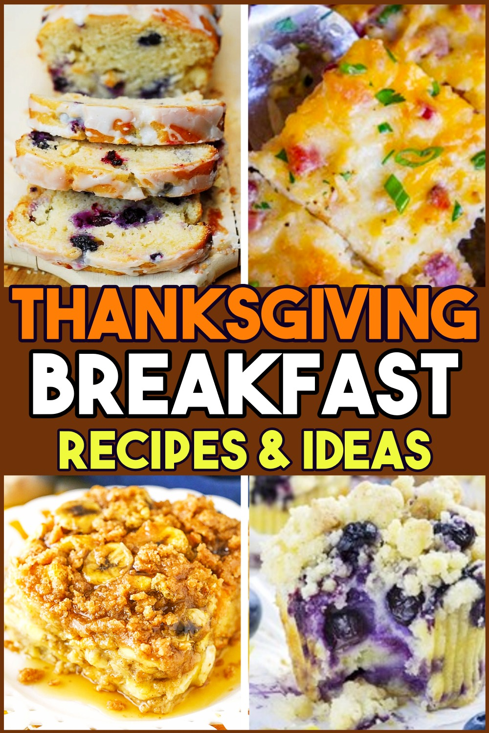 Thanksgiving brunch and Thanksgiving breakfast ideas - fall breakfast ideas, Thanksgiving morning breakfast casserole ideas and fall brunch ideas for Thanksgiving morning or make ahead for Black Friday morning girls weekend of shopping.  Quick and easy sweet Thanksgiving breakfast recipes for two or for a crowd - the french toast casserole is like having dessert for breakfast!