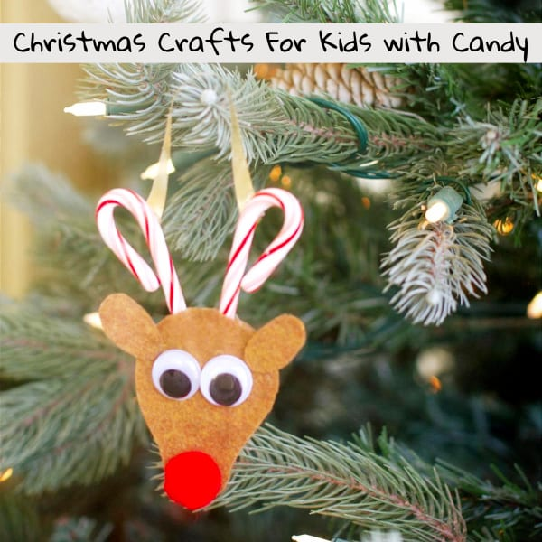 Christmas Crafts for Kids-Candy and Candy Cane Edible Christmas Crafts for Kids To Make - Cute Candy Cane Reindeer Christmas Craft Idea for Kids