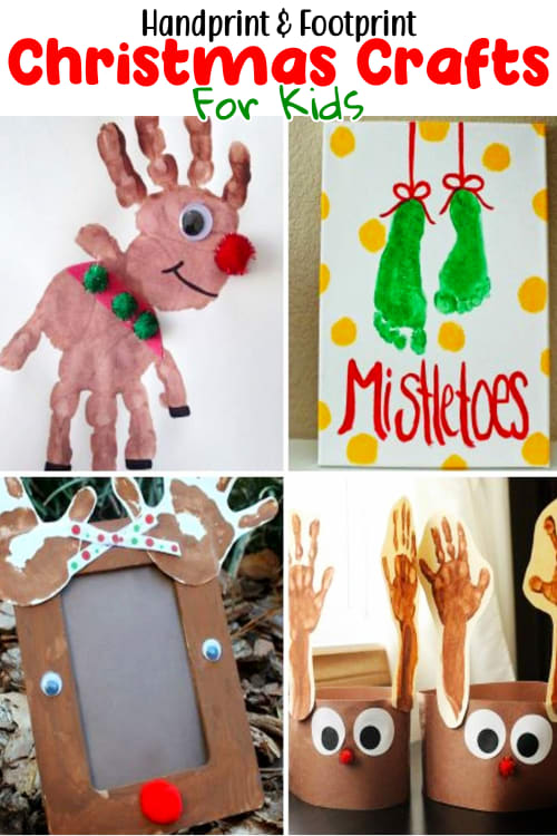 Christmas Crafts For Kids-Handprint & Footprint Christmas Crafts For Kids to Make at Home or School - Christmas Crafts For Kids - 10 Best Christmas Crafts For Kids and Kid Made Gifts for Christmas.  Super Simple Christmas Crafts For Preschoolers and Easy Christmas Art For Kids To Make At Home Or School - cute fingerpaint Christmas art projects and more creative Christmas crafts for kids of all ages