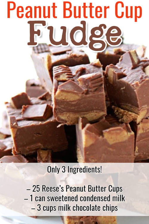 Easy Fudge Recipes - super simple chocolate fudge recipes with few ingredients.  Insanely good sweet treats for a crowd or Holiday party.    Easy Reese's Peanut Butter Cup choclate fudge recipe to make ahead and freeze.  Only 3 ingredients!