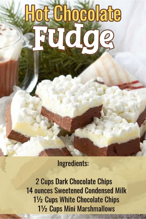 Easy Fudge Recipes - super simple chocolate fudge recipes with few ingredients.  Insanely good sweet treats for a crowd or Holiday party. Insanely good and super simple Hot Chocolate Fudge recipe with mini marshmallows!  The kids LOVE it and ALL these easy choclate fudge recipes you can make ahead and freeze.  Few ingredients too!