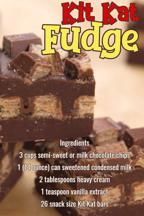 Easy Fudge Recipes - super simple chocolate fudge recipes with few ingredients.  Insanely good sweet treats for a crowd or Holiday party.   Kit Kat candy bar fudge recipe and more