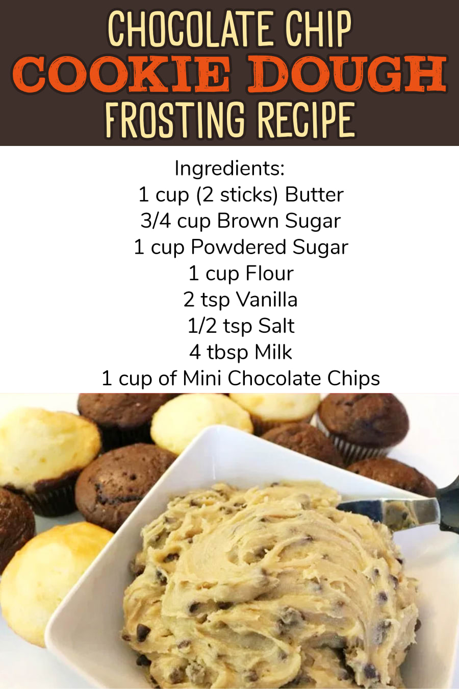 Chocolate chip cookie dough frosting recipe for cakes, cupcakes, brownies and sweet treats for a crowd (gluten free frosting recipe alternative too).  Easy homemade frosting recipes - cookie dough icing, chocolate chip frosting - recipes to try - easy desserts for a crowd - birthday cake ideas for chocolate lovers