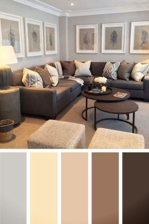 Cozy living room ideas we love - create a comfy living room or family room with greige paint colors and warm accent colors - perfect with a brown couch!