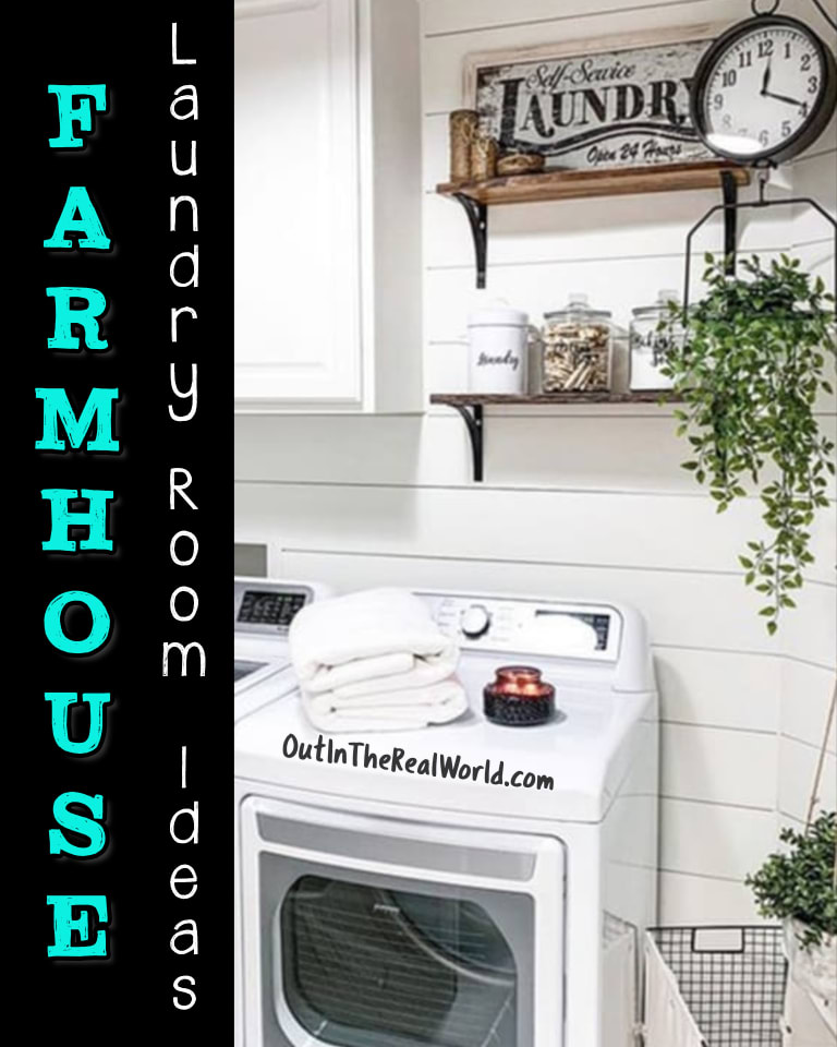 Small Laundry Room ideas on a Budget - DIY rustic farmhouse laundry room photos in DIY Pinterest style. Perfect for teeny tiny laundry rooms and very small laundry areas - see shelving, lighting ideas for top load or stackable or side by side washer and dryer in your laundry area, closet or nook