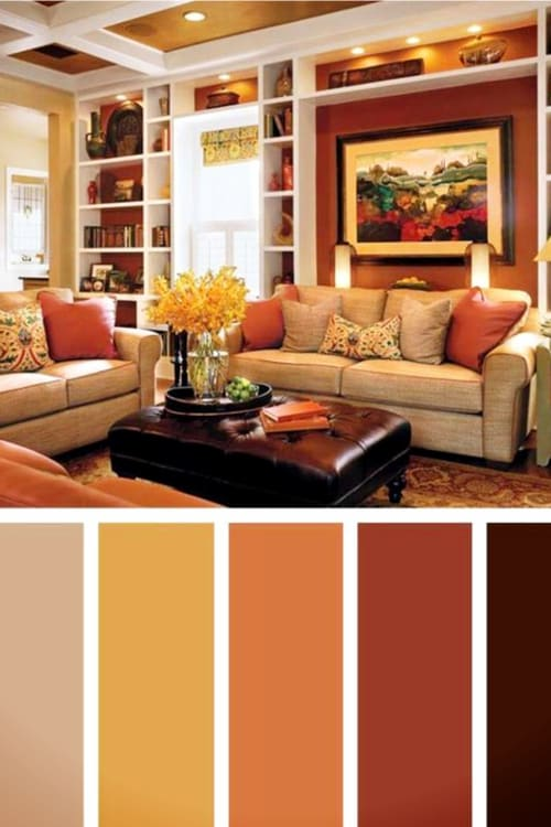 Beautiful warm paint colors for living rooms - both big family rooms and small lving rooms.  Autumn toned colors and earth tone paint colors for your living room with a pop of bold color for accent.  So comfy and cozy!