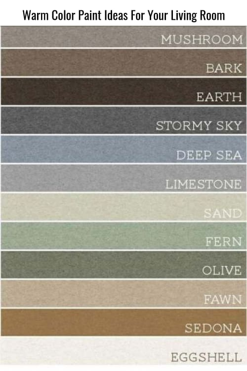 Warm and cozy living room paint color ideas - warm color palette for your living room walls and trim. Some lovely rustic colors and earthy neutral tone paint colors too.  Remember, paint small living rooms lighter warm colors so it looks feels bigger