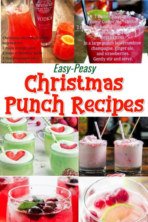 Christmas Punch Recipe Ideas - Easy peasy Christmas and Holiday punch recipes for Christmas morning, brunch, big batch punch recipes for a crowd. See Christmas themed spiked punch recipes and non-alcoholic too. Punch recipes include ingredients like vodka, ginger ale, sherbet, pineapple juice, raspberry, cranberry and more. Skip the traditional boring Christmas party punches at your winter party and try these unique twists on holiday drinks.