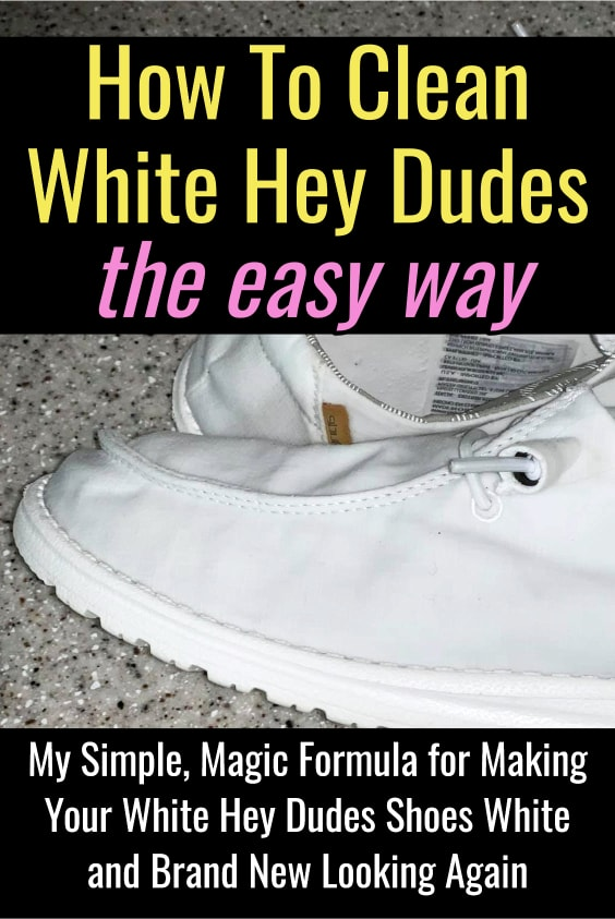 How To Clean WHITE Hey Dudes Shoes (also works for Vans, Converse, Keds and other canvas cloth shoes). The simple way to wash your white Hey Dudes to remove stains and make them bright white and brand new looking again.