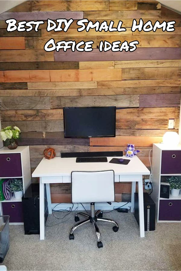 Home Office Ideas - Best DIY small home office ideas for him or her on a budget - small home office living room combo with small office desk and pallet wood accent wall