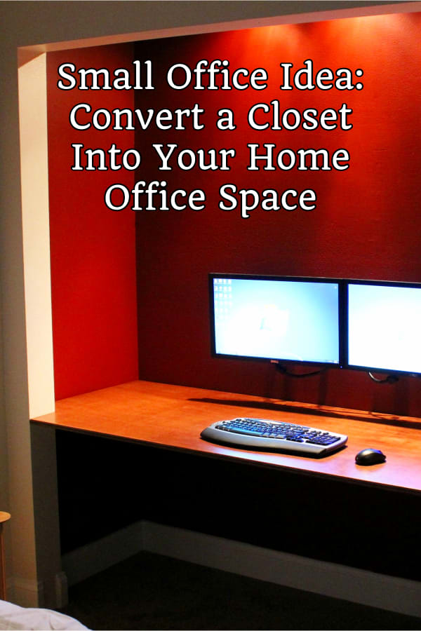 Home Office Ideas - Small Home Office Ideas - DIY Small Home Office Bedroom Combo idea - Convert a closet Into a Small Office Work Space