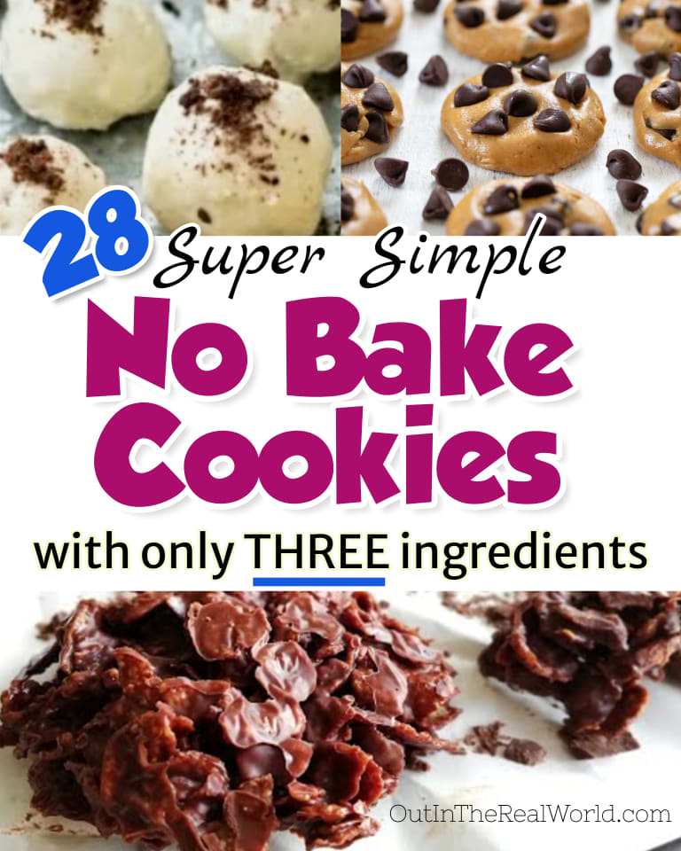 No Bake Cookies - Easy 3 Ingredient No Bake Cookie Recipes - some WITHOUT peanut butter, some WITHOUT oatmeal or oats too! Classic no bake cookies like 3 ingredient no bake chocolate cookie, oatmeal cookies, no bake chocolate chip cookies and more