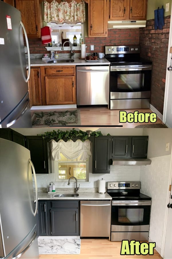 Small kitchen ideas on a budget - before and after pictures of a low budget kitchen remodel makeover