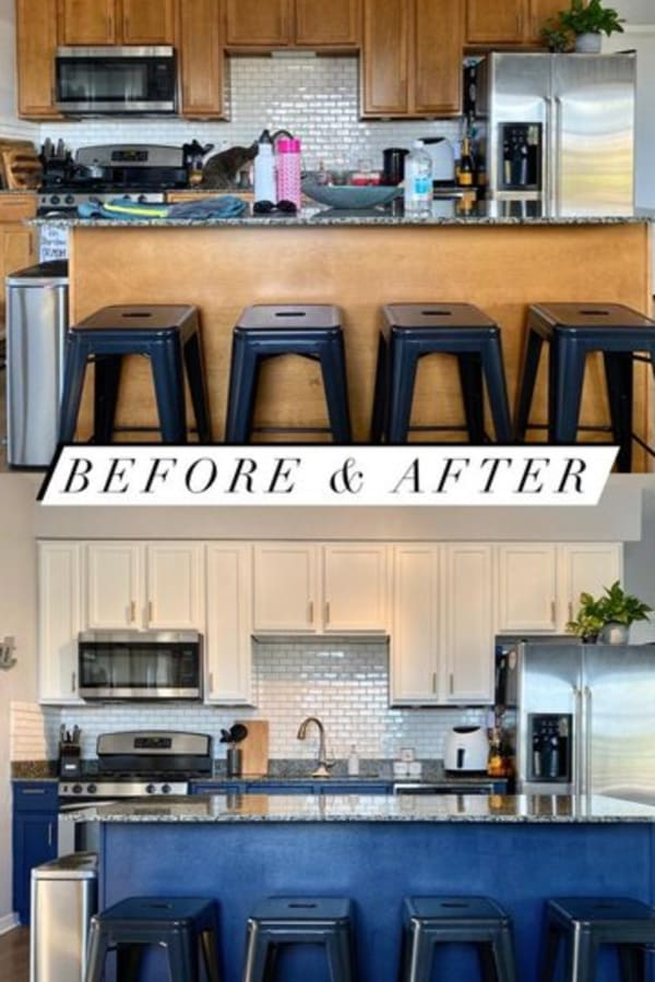 Small kitchen remodel - diy small kitchen makeover and remodels before and after - on a budget? simply painting your kitchen walls and cabinets can have a BIG impact on your small kitchen